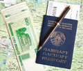 Belarus passport and money Stock Image