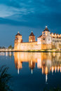 Belarus. Scenic View Of Mir Castle Complex In Bright Evening Ill