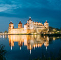 Belarus. Scenic View Of Mir Castle Complex In Bright Evening Illumination
