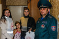 Belarusian firefighters inspect private homes for fire safety In the Gomel region. Royalty Free Stock Photo
