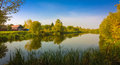 Belarusian lake forest reflection on river Stock Photo