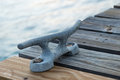 Belay point detail on a jetty Stock Photos