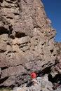 Belayer below climber on wall Stock Photos