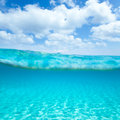 Belearic islands turquoise sea in out waterline Royalty Free Stock Photo