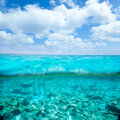 Belearic islands turquoise sea in out waterline Royalty Free Stock Photos