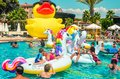 stock image of  Belek, Turkey, September 12, 2018. Pool party with shaped air mattresses