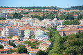Belem district skyline lisbon portugal from monument to the discoveries Stock Photography