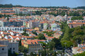Belem district skyline lisbon portugal from monument to the discoveries Royalty Free Stock Photo