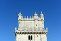 Belem tower lisbon portugal portuguese torre de belém is unesco world heritage site on the bank of tejo river at district Royalty Free Stock Photos