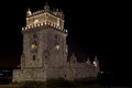 Belem Tower by night Stock Photos