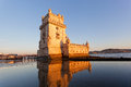 Belem tower on a sunset lisbon portugal Royalty Free Stock Photos