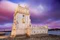 Belem tower at sunset lisbon portugal the was commissioned by king john ii to be part of a defense system the mouth of the tagus Stock Photography
