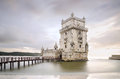 Belem tower on the tagus river in the sunset famous city landma landmark lisbon portugal Royalty Free Stock Photography