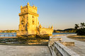 Belem tower torre de belem in lisbon with golden evening light portugal Stock Photos
