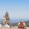 Belfries of classical churches of santorini island in greece Royalty Free Stock Image