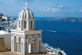 Belfry at blue sky on Santorini  island Royalty Free Stock Photo