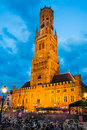 Belfry bruges belgium grote markt is dominated by the or belfort octagonal belltower with m built in th century west flanders Royalty Free Stock Photo