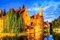 Belfry bruges belgium image with rozenhoedkaai in brugge dijver river canal twilight and belfort tower Stock Photo