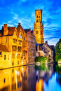 Belfry bruges belgium image with rozenhoedkaai in brugge dijver river canal twilight and belfort tower Stock Images