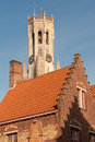 Belfry of bruges famous medieval bell tower in the historical belgium Stock Image