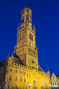 Belfry of bruges at night famous belgium scene Stock Photography