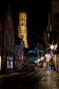 The belfry of bruges at night photograph street view belgium Stock Image