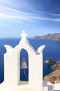 Belfry of classical church of santorini island in greece Royalty Free Stock Image