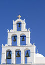 Belfry of classical church of santorini island in greece Royalty Free Stock Photos