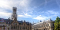 Belfry, houses and market square in Bruges / Brugge, Belgium Royalty Free Stock Photo