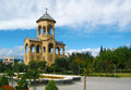 Belfry of sameba holy trinity cathedral tbilisi in the garden georgia main the georgian orthodox church located in Royalty Free Stock Images