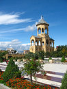 Belfry of sameba holy trinity cathedral tbilisi in the garden georgia main the georgian orthodox church located in Royalty Free Stock Photos