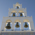Belfry in santorini of church oia greece Stock Photos