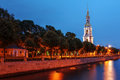 The belfry of st nicholas cathedral saint petersburg russia night scene with in along kryukov canal Royalty Free Stock Photos