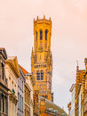 The Belfry Tower, aka Belfort, of Bruges, medieval bell tower in the historical centre of Bruges, Belgium. Close-up view