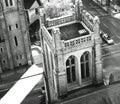 Belfry view birdseye of church in city Stock Images