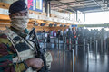 Belgian anti terror soldier on charleroi airport in belgium armed forces guards the interior of bruxelles wednesday december Royalty Free Stock Photo