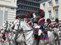 Belgian cavalry brussels belgium july moves to place des palais during ceremony of national day of belgium on july in brussels Royalty Free Stock Image