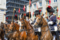 Belgian cavalry in defile to place des palais during ceremony of national day of belgium on july brussels Stock Images