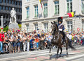 Belgian cavalry starts defile to royal palace during ceremony in national day of belgium on july in brussels Stock Photo