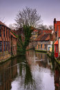 Belgian city canal Royalty Free Stock Images