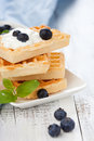 Belgian waffle delicious with fresh berries and cream for breakfast Royalty Free Stock Photos