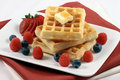 Belgian waffles with berries Royalty Free Stock Image