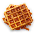 Belgian waffles with caramel sauce isolated on white background top view Stock Image