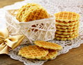 Belgian waffles for dessert Royalty Free Stock Image