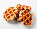 Belgian waffles for dessert on white background Royalty Free Stock Images