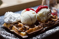 Belgian waffles with ice cream , chocolate, Royalty Free Stock Photo