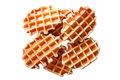 Belgian waffles isolated on white background. horizontal Royalty Free Stock Photo