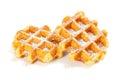 Belgian Waffles with Powdered Sugar Royalty Free Stock Photo