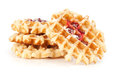 Belgian waffles with raspberry jam Stock Photo