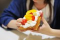 Belgian waffles with whipped cream and fruit Royalty Free Stock Photo